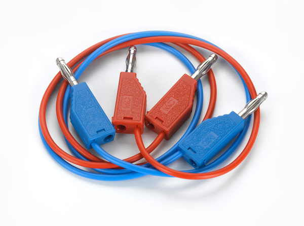 Connecting lead, 19 A, 50 cm, red/blue, pair