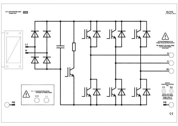 Frequenzumrichter U=f (f) / FO;  300 W  Leistungsteil