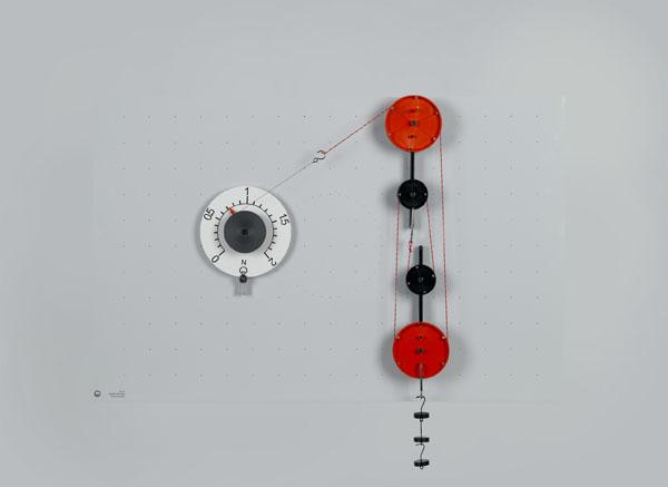 Feste Rolle, lose Rolle und Flaschenzug als einfache Maschinen auf der Magnet-Hafttafel