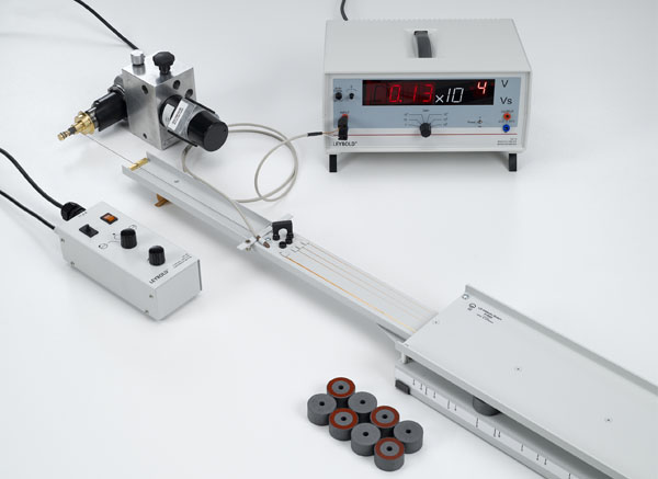 Measuring the induction voltage in a conductor loop moved through a magnetic field